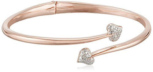 - 14k Rose Gold Plated Bronze Diamond Accent Bypass Heart Hinged Bangle Bracelet, 7.25