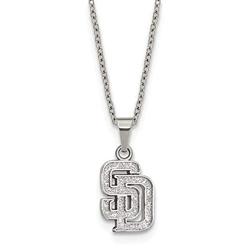 Q Gold MLB San Diego Padres Stainless Steel San Diego Padres Pendant on Chain with 2 in ext Necklace Size One Size