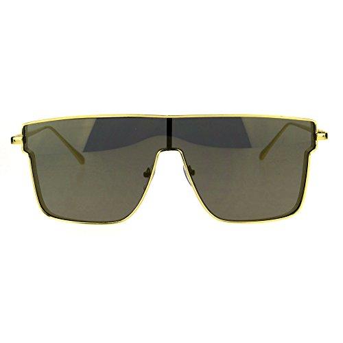 Mirrored Robotic Shield Futuristic Mens Metal Rim Hip Hop Sunglasses All - Futuristic Rims