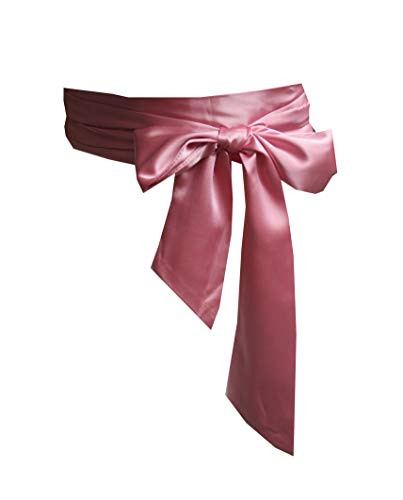 Satin Tie Waist Dress - Wedding satin sash belt for special occasion dress bridal sash (Dusty pink)