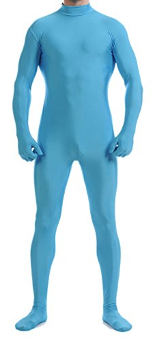 - VSVO Unitard Skin-Tight Solid Color Dance Wear for Adults and Children (Large, Light Blue)