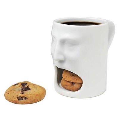 Creative Cute White Face Mug Ceramic w/ Cookies / Biscuit holder, 6 oz