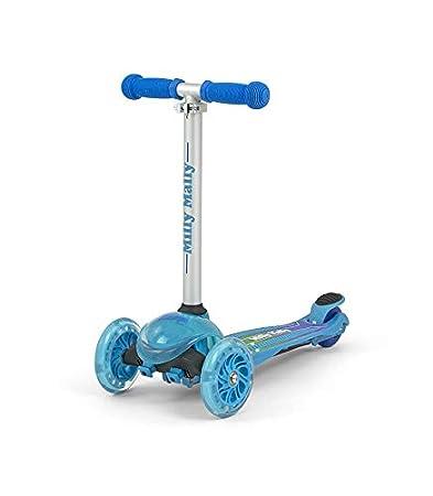 ZAPP - Drei Rä der Roller Scooter fü r Kleinkinder und Kinder ab 3 Jahre, belastbar klappbar hö henverstellbarer Roller 50 kg Tragkraft 3 LED-Rä der, fü r Kinder 3-9 Jahre geeignet, Farbe:blau Pemicont