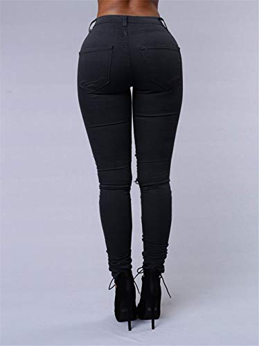Csndion Skinny Alta Vita Pantaloni Strappati A Black rrxqvwS51