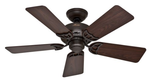 Hunter 52067 Hudson 5-Blade Ceiling Fan with Black Walnut Medium Oak Blades, 42-Inch, New Bronze