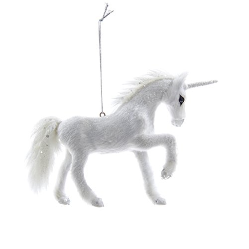 Frosted Kingdom White Plush Glittered Unicorn Christmas Ornament