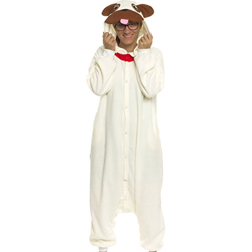 [Silver Lilly Adult Pajamas - Plush One Piece Cosplay Pug Animal Costume (L)] (Pugs Costumes)