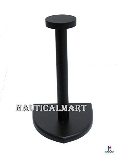 NAUTICALMART Helmet Stand Wooden Black Display Stand - Medieval Armor Helmet (Helmet Stand Wood)