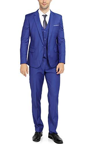 WULFUL Men's Suit Slim Fit One Button 3-Piece Suit Blazer Dress Business Wedding Party Jacket Vest & Pants (Royal Blue, Small) (Para Hombres)