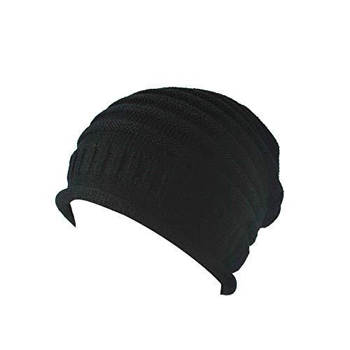 TWGONE Womens Wrap Caps Knitting Slouchy Baggy Winter Hat Oversize Unisex Hat(Black,One Size) -