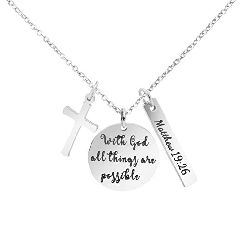 (MEMGIFT Religious Bible Verse Necklace Stainless Steel Round Pendant Christian Jewelry with God All Things are Possible)