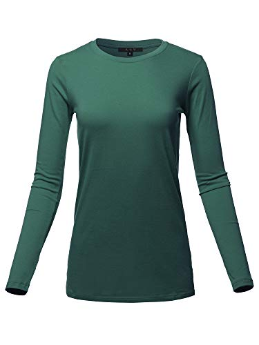 Basic Solid Soft Cotton Long Sleeve Crew Neck Top Shirts Hunter Green - Stretch Long Crewneck Sleeved