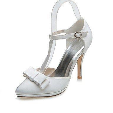 RTRY La Mujer De Satén Zapatos Formales Zapatos De Boda Boda Primavera Verano &Amp; Noche Bowknot Stiletto Talón Marfil Plata Negro 3A-3 3/4 Pulg. US5 / EU35 / UK3 / CN34