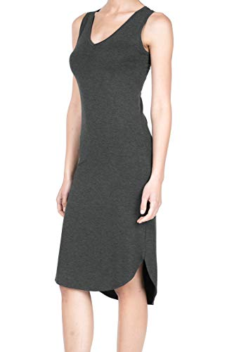 8037 Women's Jersey Sleeveless V-Neck Midi Tank Dress Charcoal 2XL