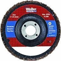 Weiler Type 29 Non-Woven Zirconium Flap Disc - Medium Grade - 4 in Dia 5/8 in Center Hole - 15000 Max RPM - Display Package - 30825 [PRICE is per DISC] by Weiler