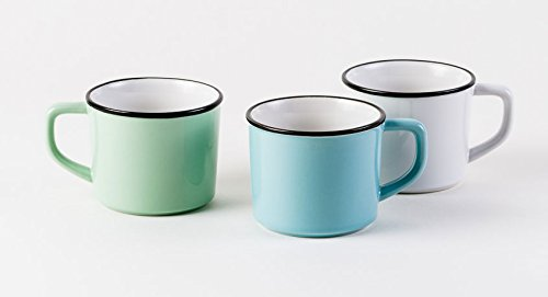 Set Of 6 Retro Quot Enamelware Quot Style Porcelain Coffee Mugs