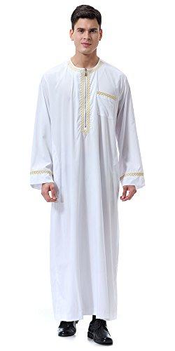 Ababalaya Mens O-Neck Zipper Long Sleeve Saudi Arab Thobe Islamic Muslim Dubai Robe