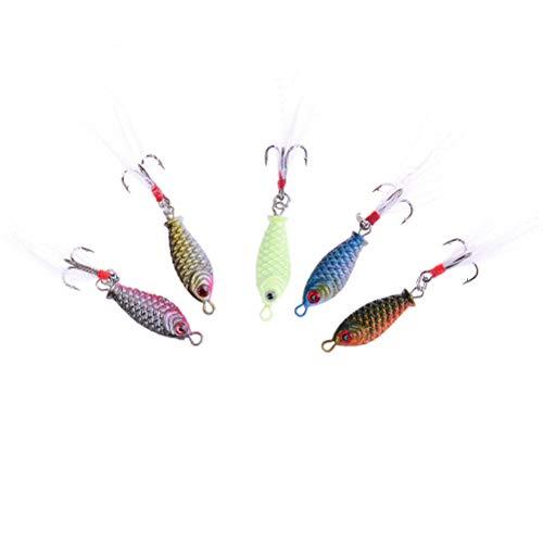 Ameglia Mini Iron Minnow Fishing Lures Bass Crankbait 4#Hooks Tackle Crank Baits HF (Color - 6(4pcs)) ()