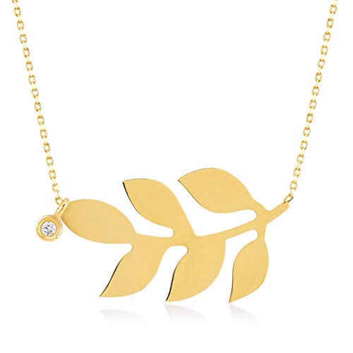 GELIN 14k Solid Gold 0,01 Diamond Olive Leaf Pendant Chain Necklace for Women, 18