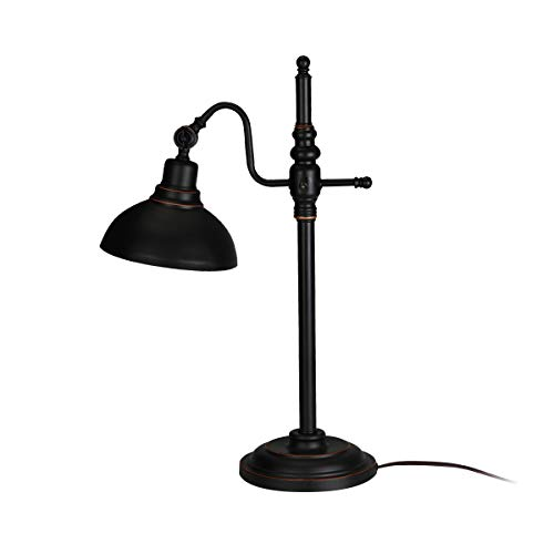 Industrial Table Lamp Vintage Reading Desk Lamp Retro Adjustable Black Shade with Circular Base by S'DENTE