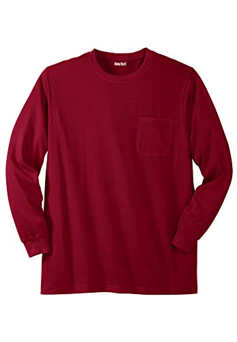 KingSize Men's Big & Tall Shrink-Less Lightweight Long-Sleeve Crewneck Pocket Tee Shirt, Rich Burgundy Big-3XL ()
