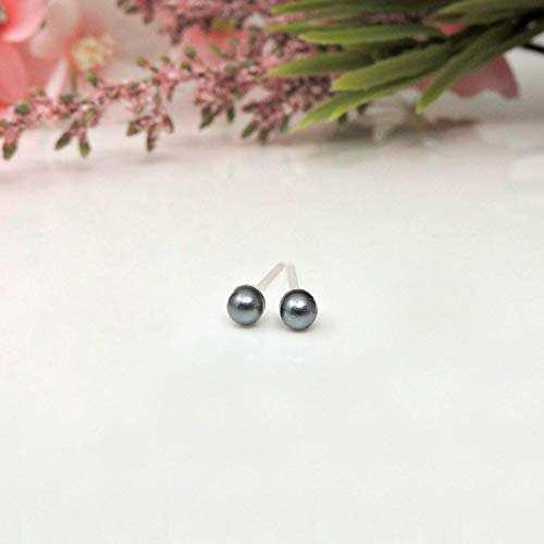 Tiny 3mm Simulated Shell Pearl Earrings on Plastic Posts, Grey