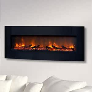 classicflame 48 inch curved black wall mount electric fireplace 48hf201cgt home. Black Bedroom Furniture Sets. Home Design Ideas