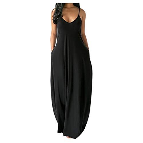 Binggong Zomerjurk voor dames, eenvoudige mouwloze lange jurk, Boheemse sexy plus size, casual dameskleding, maxi-jurk…