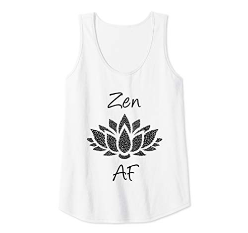 Womens Zen AF Shirt,Funny Meditation Yoga Saying Lotus Flower Life Tank ()