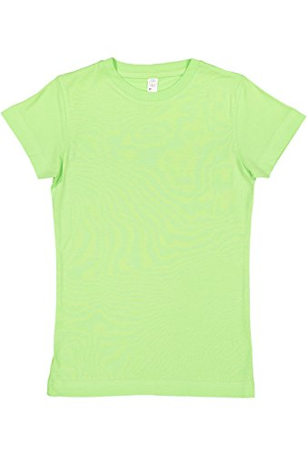 LAT Girls' 100% Cotton Fine Jersey Crew Neck Short Sleeve Tee (Key Lime, (Girls Fine Fit Tee)