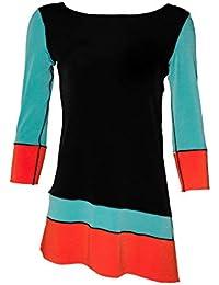 3/4 Sleeve, Slant Block Tunic, Side Slits