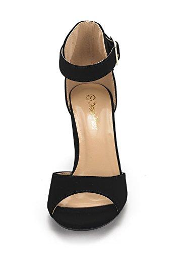 DREAM PAIRS Womens HHER Low Heel Pump Sandals Black Nubuck bD2LH