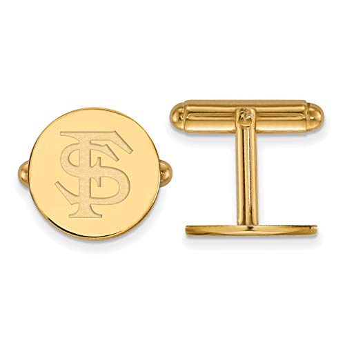 - Florida State University Seminoles School Letters Cuff Links Set in Gold Plated Sterling Silver 15x15mm