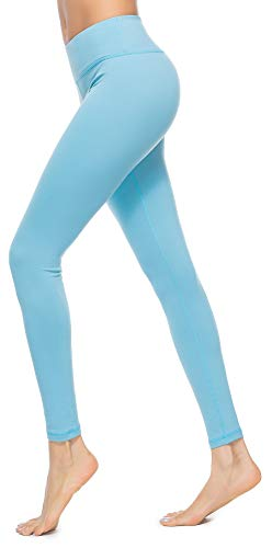 Charaland Womens Athletic Leggings with Pocket Power Flex Gym Running Pants Ankle Length, Activewear Yoga Pants Light Blue S