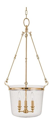(Aged Brass Three Light Pendant from the Quinton Collection)