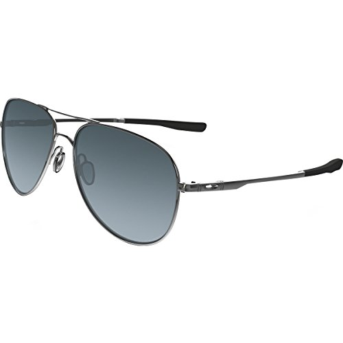 Oakley Elmont Polarized Round Sunglasses, Polished Chrome w/Grey Gradient Polarized, 58 - Wire Frames Oakley