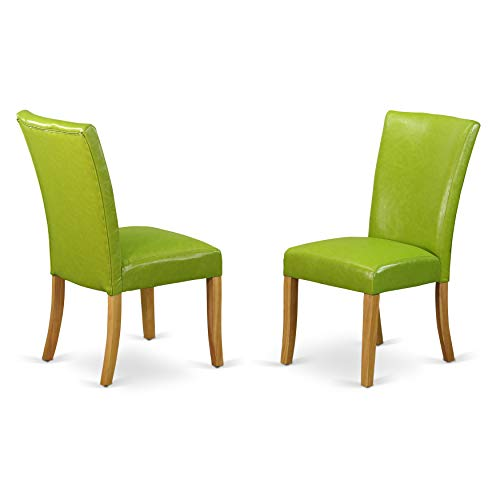 East West Furniture ALP4B51 Alpine Parson Chair with Oak Finish Leg and PU Leather Color Autumn Green (Set of Two) ()