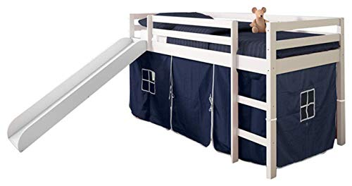 - Hulaloveshop Unique Vintage Custom Kids Twin Loft Bed with Slide and Tent, White and Blue Loft Style