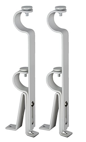 Urbanest Adjustable Double Curtain Rod Bracket, up to 1 1/8-inch Diameter Rods, 2 pieces, Glossy White (Rod Inch Double Curtain Bracket 1)
