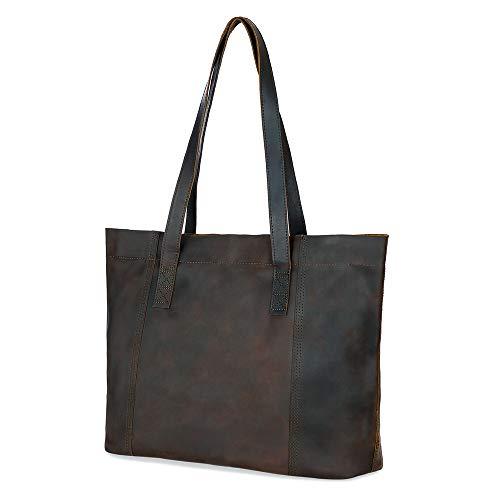 Minimalist Sturdy Durable Fits 16''Laptop Genuine Leather Handbag Tote Bag Shopper Purse Shoulder Bag School Bag Lady's Gift(Dark Brown4.0) (Bag Handbag Tote Leather Laptop)