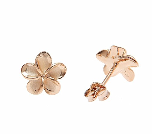 - 925 sterling silver pink rose gold plated Hawaiian plumeria flower no cz stone post stud earrings 10mm