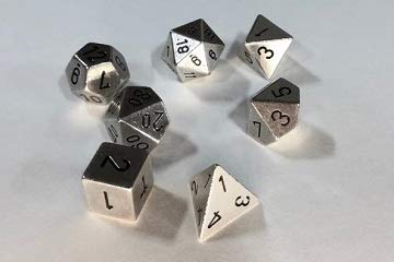 Chessex: 7-Die Set Metal: Silver Color - - Dice Chessex Metal