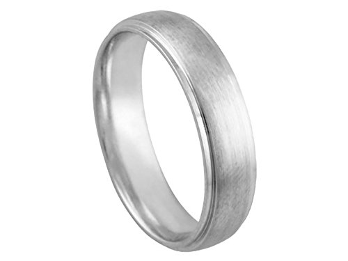 (American Set Co. Men's 14k White Gold Brushed Finish 5.5mm Comfort Fit Wedding Band Ring Size 5.75)