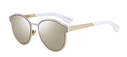 New Christian Dior SYMMETRICS 0GBZ/QV Gold Matte White Marble/Light Gold - White Sunglasses And Gold Dior