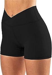Fooqipo Women's Bicycle high Waist Shorts Cross Waist Fitness Pants Yoga Shorts Running Legg