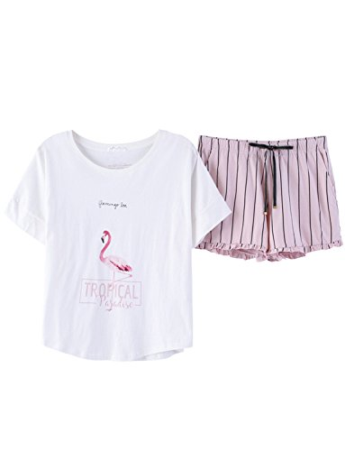 Big Girls Sweet Flamingo Tee and Striped Shorts Pajamas Set Junior(8y-16y) by Leisure Home