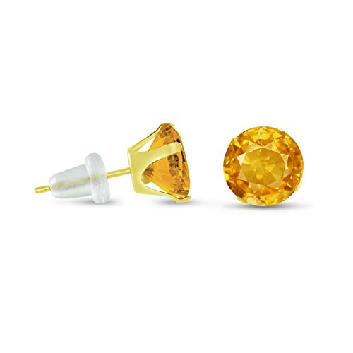 Crookston Solid 10k Yellow Gold Round Golden Yellow Stud Earrings - Choose Your Size | Model ERRNGS - 14811 | 9mm - 3XL Large (Leverback Chalcedony Earring)