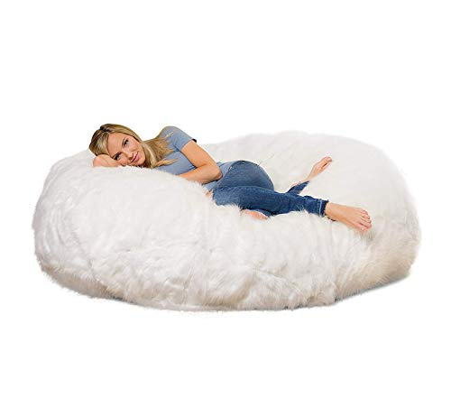 Wood & Style 6 ft Lounger Memory Foam Bean Bag Chair White Furry Decor Comfy Living Furniture Deluxe Premium Collection (Deluxe Bean Bag)