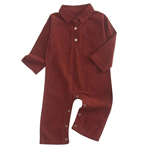 4b1a3790c NUWFOR Newborn Baby Girl Boy Long Sleeve Solid Romper Outfits ...