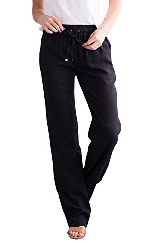 Ybenlow Womens Palazzo Linen Pants Wide Leg High Waisted Drawstring Casual Long Trousers - Detail Wide Leg Trousers